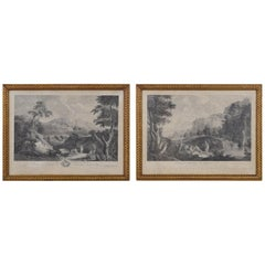 Pair of French Engravings in Gilt Gesso Frames, Views of Dresden, 19th Century