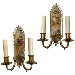 Pair of French Etched Mirror Sconces. Sold per pair