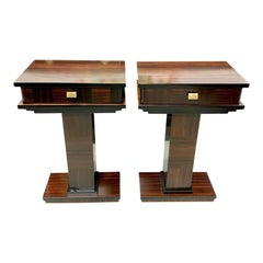 Pair of French Exotic Macassar Ebony Nightstand or Side Tables, 1940s