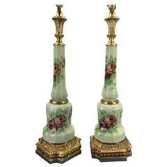 Pair Of French Faceted Flower Decorated and Signed Opaline Table Lamps