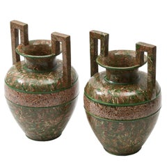 Pair of French Faience 'Agateware' Amphora shaped Vases by Pichon, circa 1890