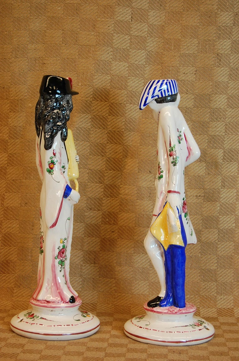 Hand-Crafted Pair of French Faience Decorated Candlesticks of Doctor & Patient For Sale