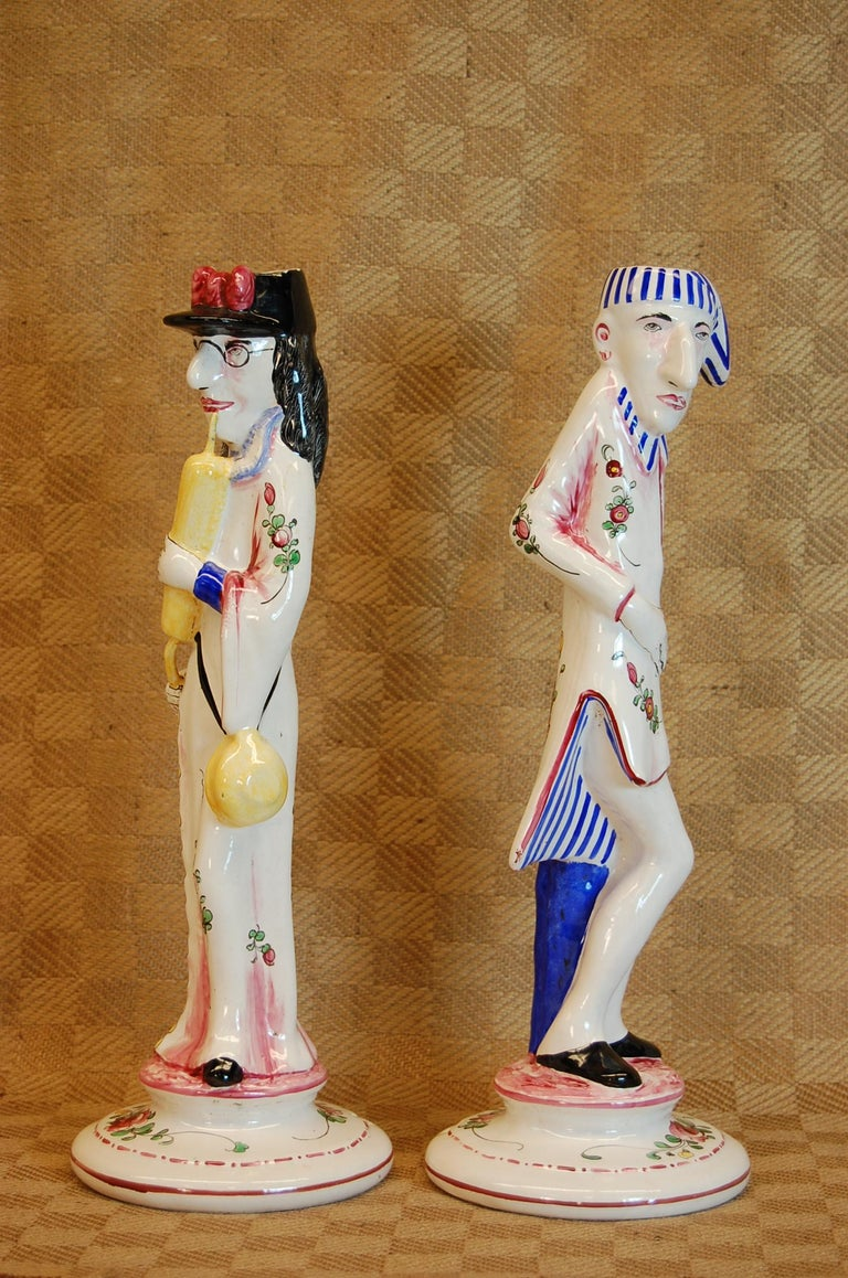 Mid-20th Century Pair of French Faience Decorated Candlesticks of Doctor & Patient For Sale