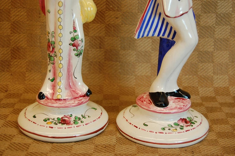 Porcelain Pair of French Faience Decorated Candlesticks of Doctor & Patient For Sale