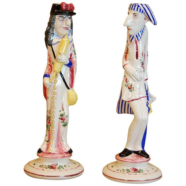 Pair of French Faience Decorated Candlesticks of Doctor & Patient For Sale