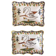 Pair of French Faience Swan Dishes, circa 1910