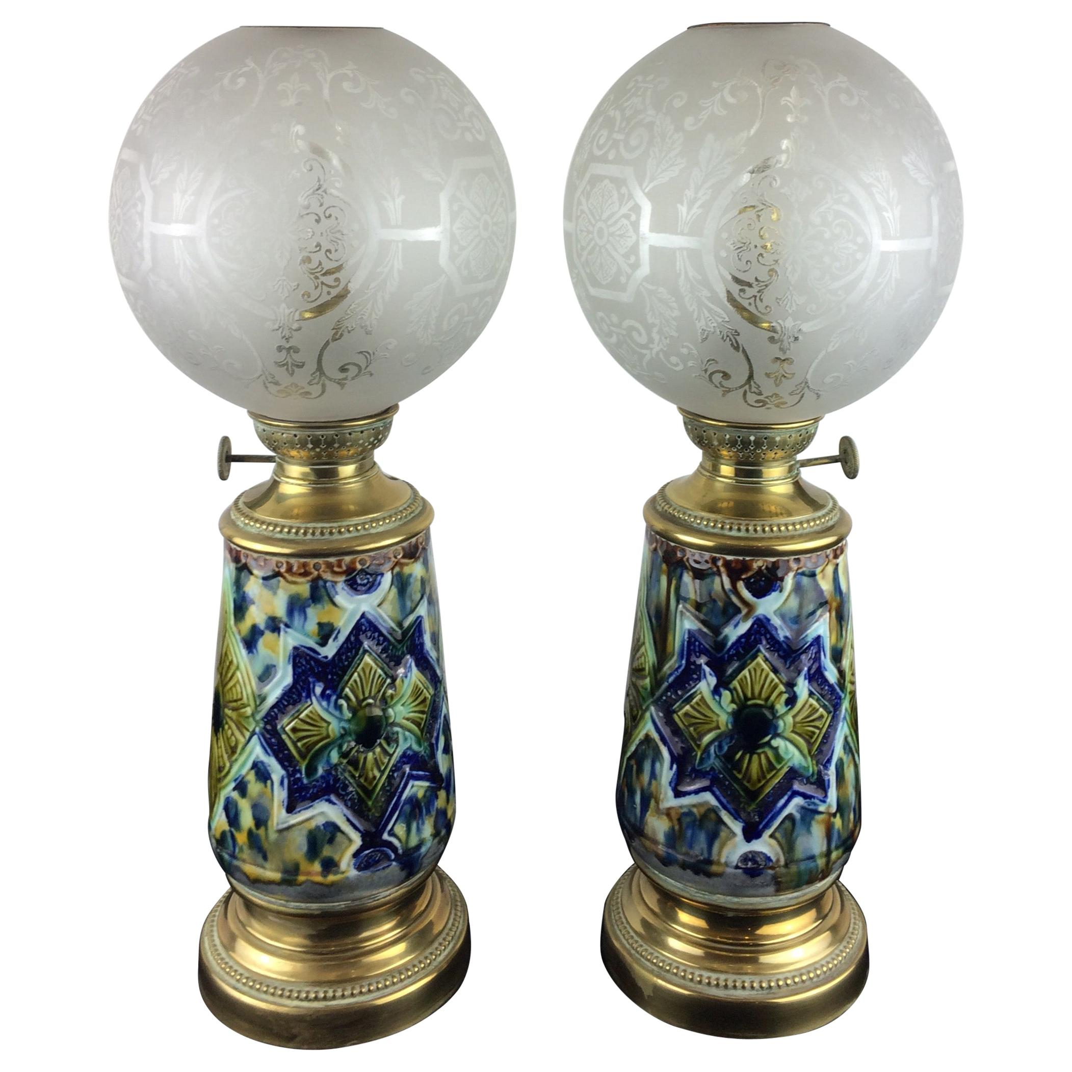 Pair of French 19th Century Napoleon III Brass & Porcelain Oil Lamps Electrified
