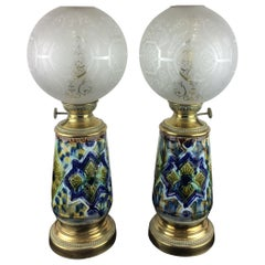 Pair of French Faience Table Lamps Electrified