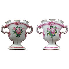 Pair of French Faience Tulip Vases, Prob. Luneville, 19th Century