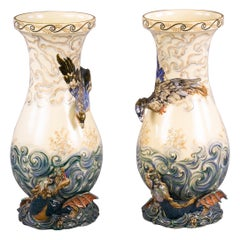 Pair of French Faience Vases, Luneville, circa 1875