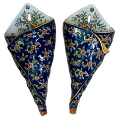 Pair of French Faience Wall Pocket Desvres Fourmaintraux, Circa 1890