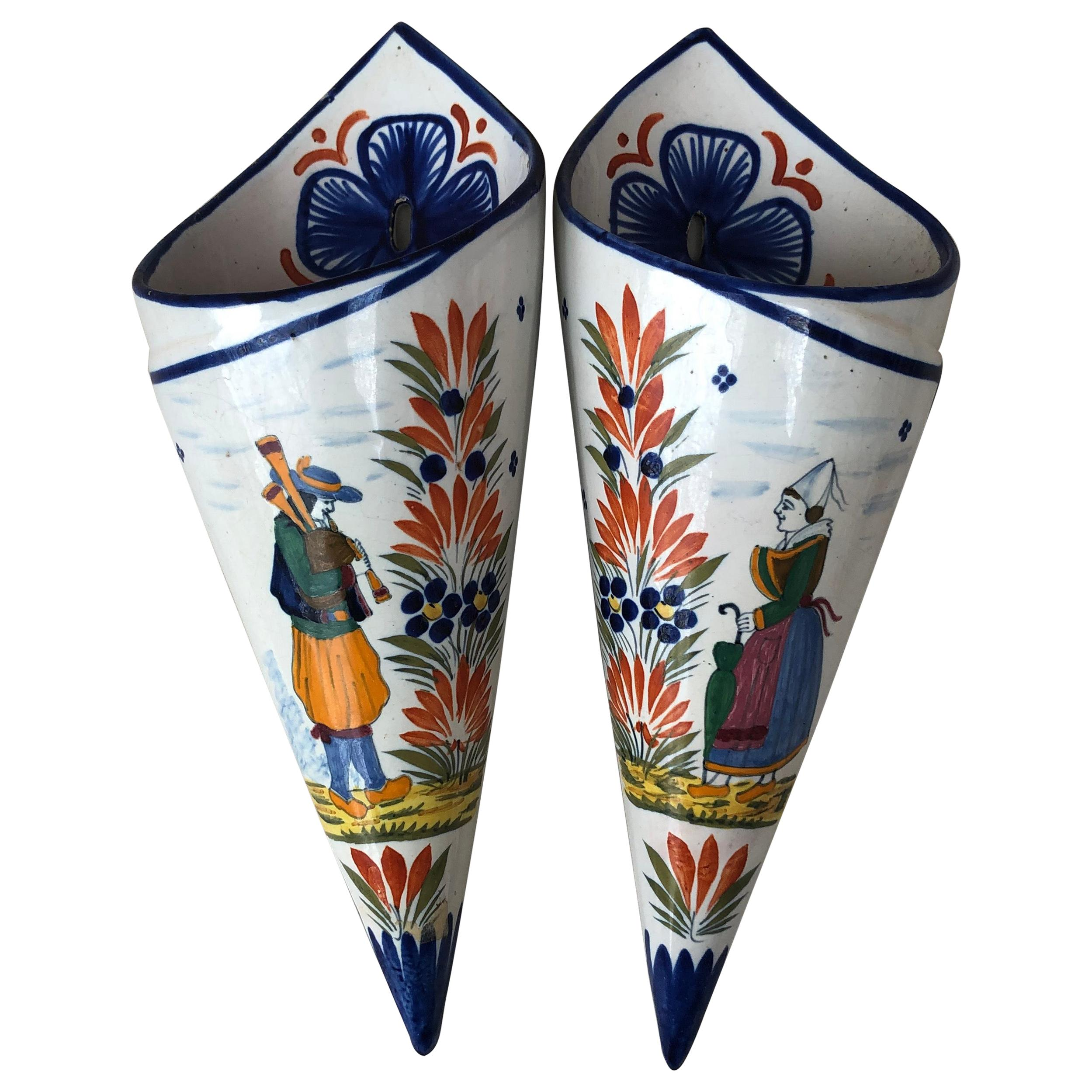 Pair of French Faience Wall Pocket Henriot Quimper