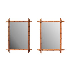 Pair of French Faux-Bamboo Mirrors, circa 1920 with Clear Glass and Honey Color