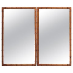 Pair of French Faux Bamboo Mirrors in Walnut, France, circa 1890