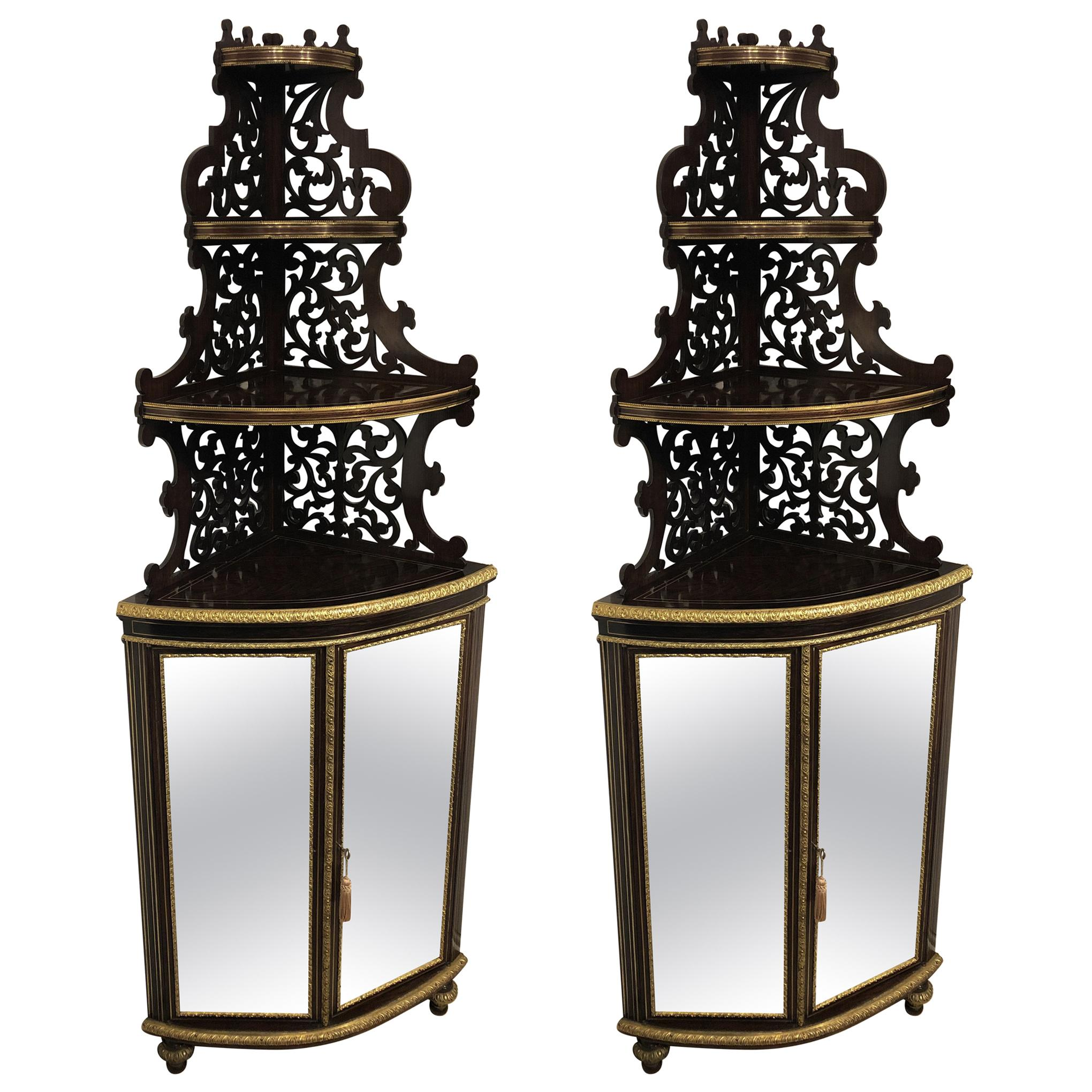 Pair of French Faux Rosewood Corner Cabinets