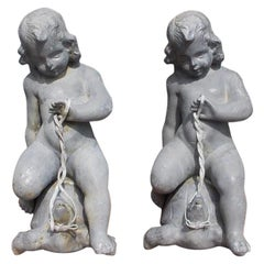 Pair of French Figural Cherub Form Lead Fountains Riding on Turtles, Circa 1860
