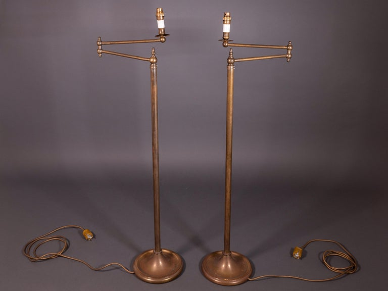 Art Deco Pair of French Floor Lamps in Golden Brass For Sale