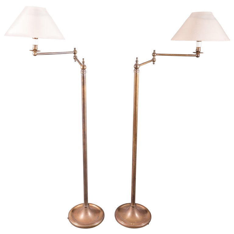 Pair of French Floor Lamps in Golden Brass For Sale