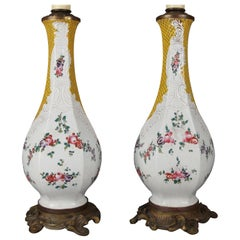 Pair of French Floral Hand Enameled Porcelain and Bronze Table Lamps