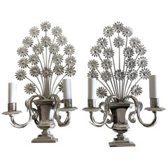 Pair of French Flower Metal Sconces