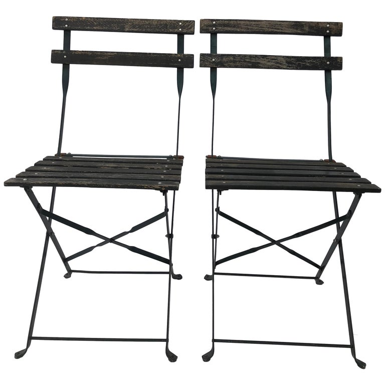 Pair Of French Foldable Green Garden Chairs Wood And Metal 1950s