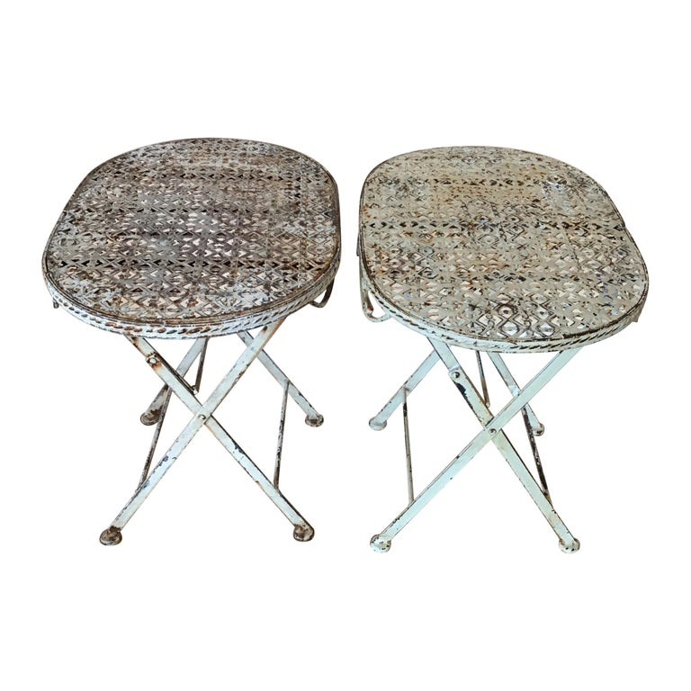 Pair of French Folding Garden Tables For Sale
