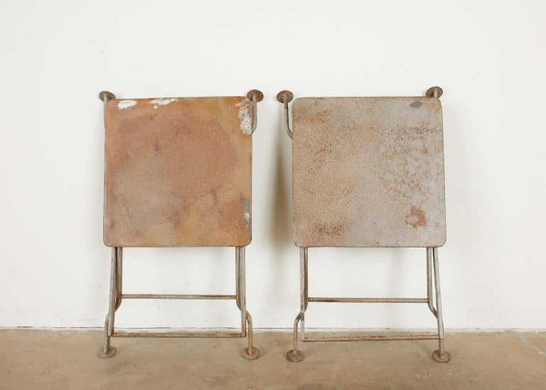 Pair of French Folding Iron Campaign Style Drink Tables For Sale 8