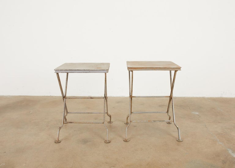 Cast Pair of French Folding Iron Campaign Style Drink Tables For Sale