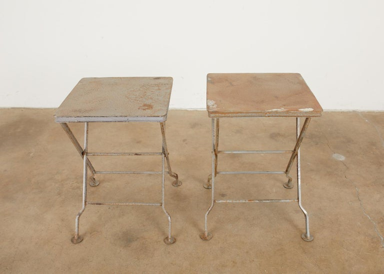 Pair of French Folding Iron Campaign Style Drink Tables In Good Condition For Sale In Rio Vista, CA