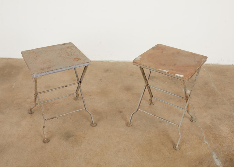 20th Century Pair of French Folding Iron Campaign Style Drink Tables For Sale