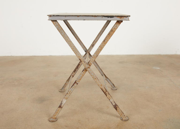 Pair of French Folding Iron Campaign Style Drink Tables For Sale 3