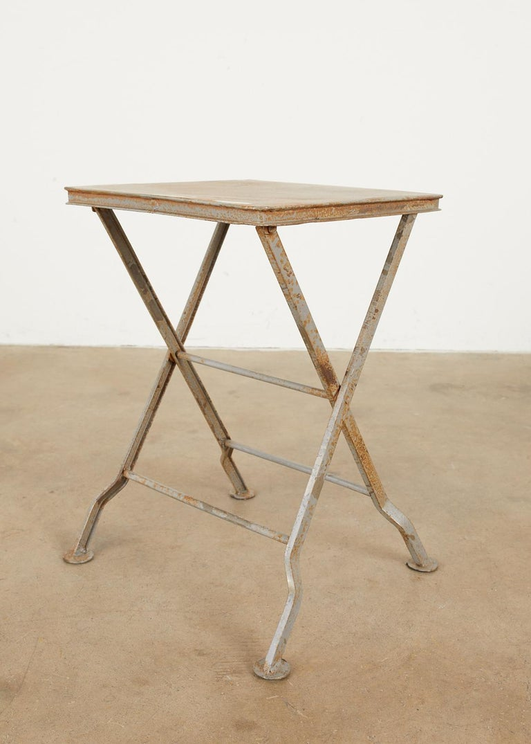 Pair of French Folding Iron Campaign Style Drink Tables For Sale 4