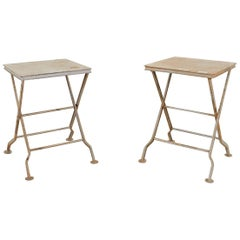Pair of French Folding Iron Campaign Style Drink Tables