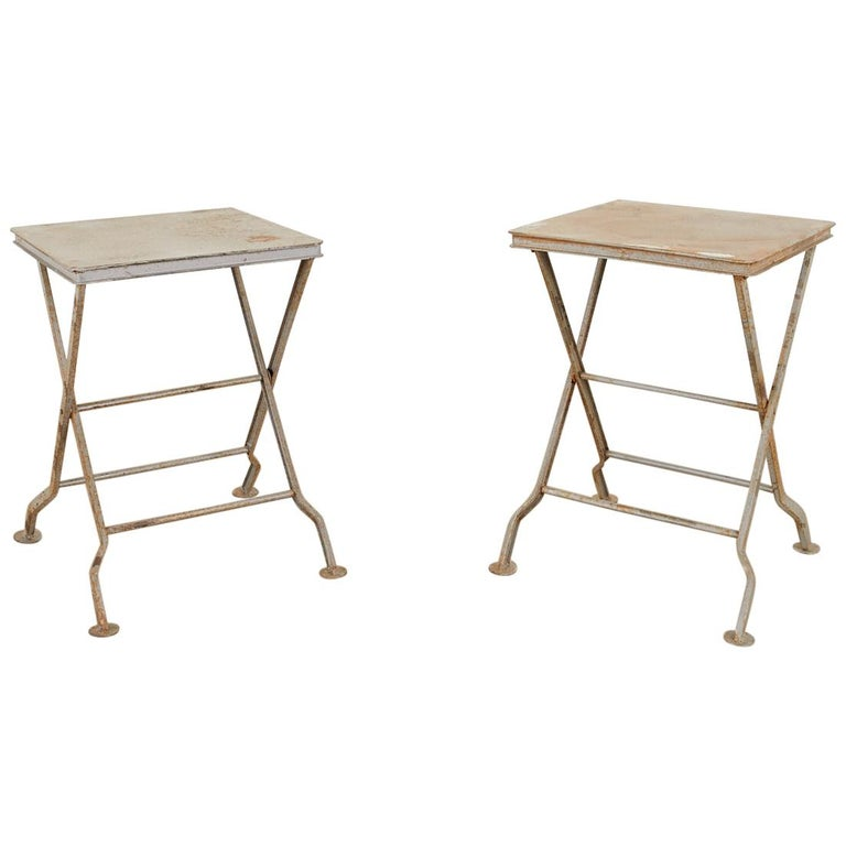 Pair of French Folding Iron Campaign Style Drink Tables For Sale