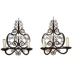 Pair of French Forged Iron Wall Sconces
