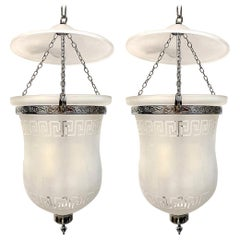 Pair of French Frosted Glass Lanterns, Sold Individually