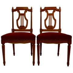 Pair of French Fruitwood Side Chairs