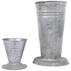 Pair of French Galvanized Flower Buckets, Vases