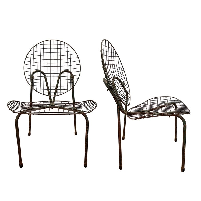 Modern Pair of French Garden Chairs For Sale