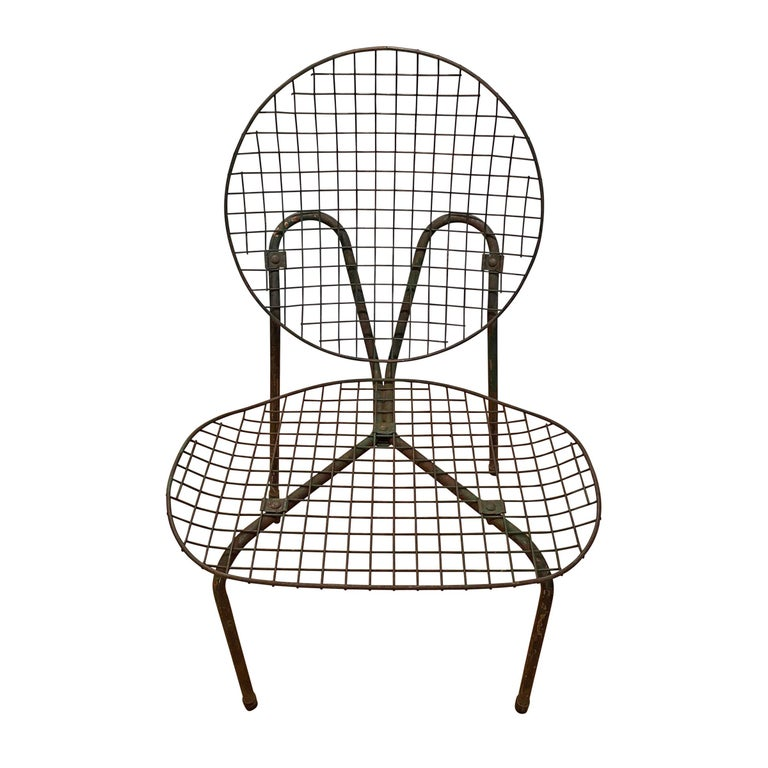 Mid-20th Century Pair of French Garden Chairs For Sale