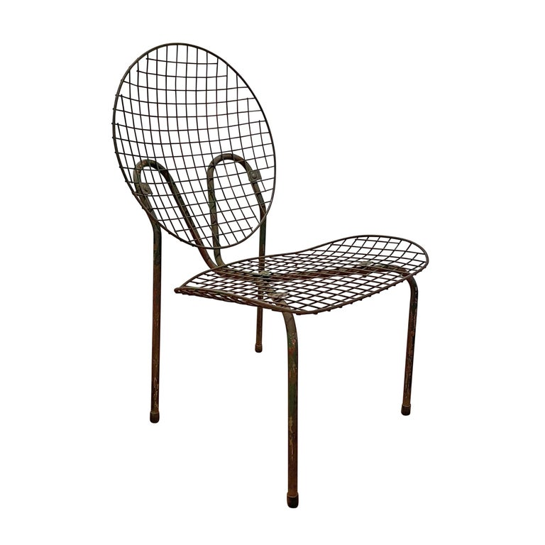 Steel Pair of French Garden Chairs For Sale