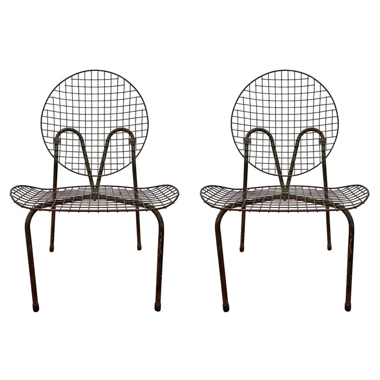 Pair of French Garden Chairs For Sale