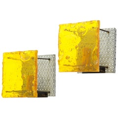 Pair of French Geometric Fractal Resin Sconces