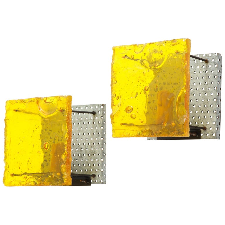 Pair of French Geometric Fractal Resin Sconces For Sale