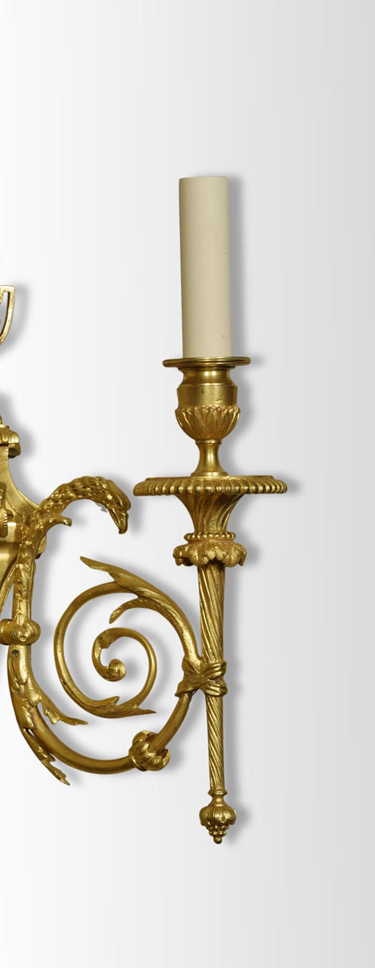 Pair of French Gilded Bronze Wall Lights In Good Condition For Sale In Cheshire, GB