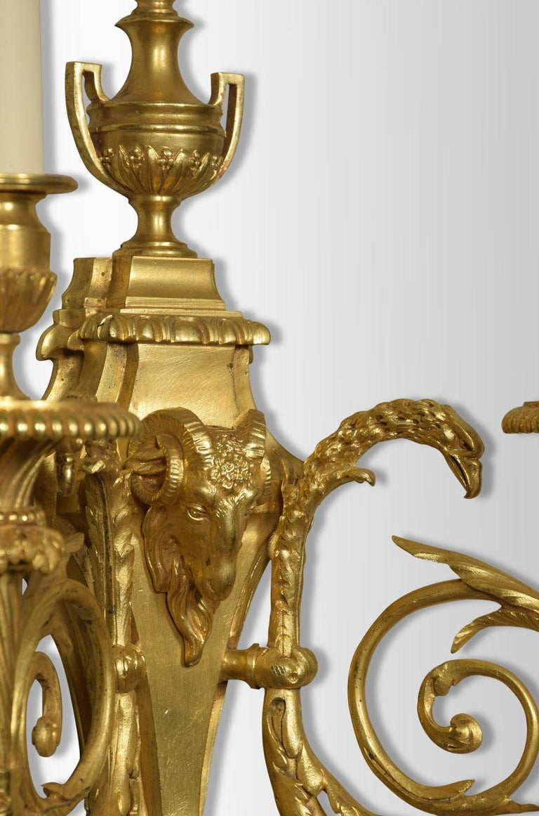 19th Century Pair of French Gilded Bronze Wall Lights For Sale