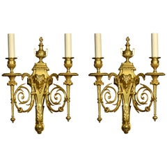 Pair of French Gilded Bronze Wall Lights