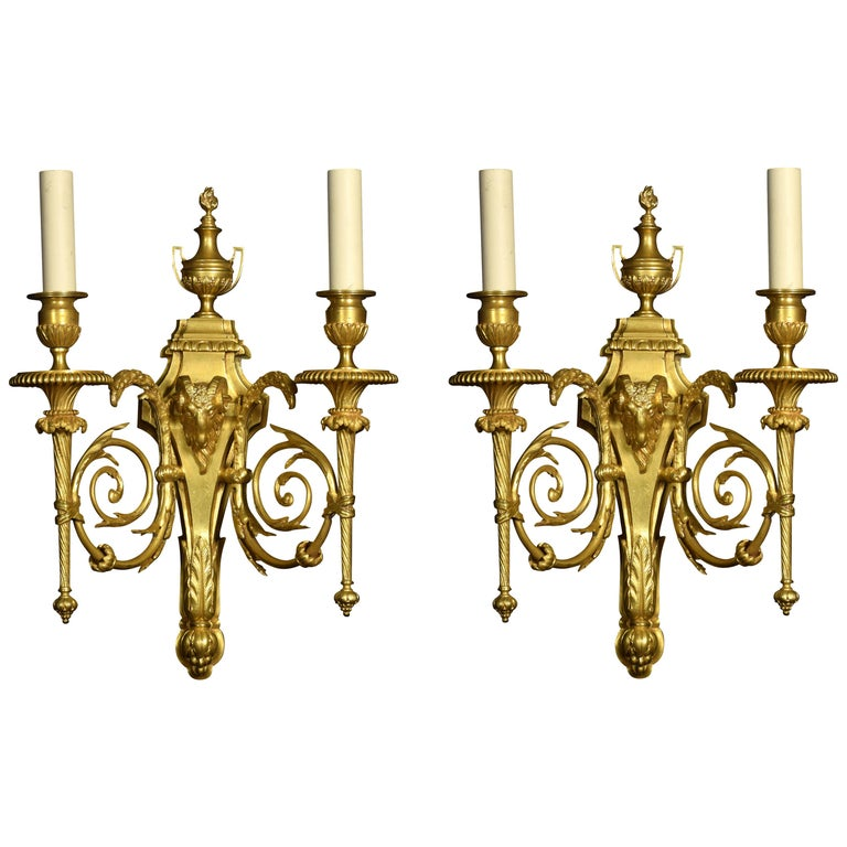 Pair of French Gilded Bronze Wall Lights For Sale
