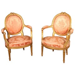 Pair of French Gilded Carved Louis XVI Fauteuils Armchairs, circa 1870