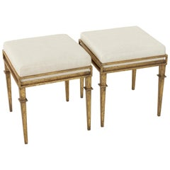 Pair of French Gilded Iron Banquettes or Benches with Linen Upholstered Cushions